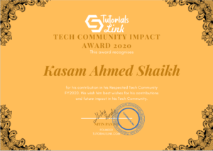 TutorialsLink Tech Community Impact Award 2020